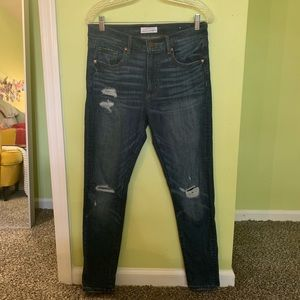 LOFT distressed high rise jeans